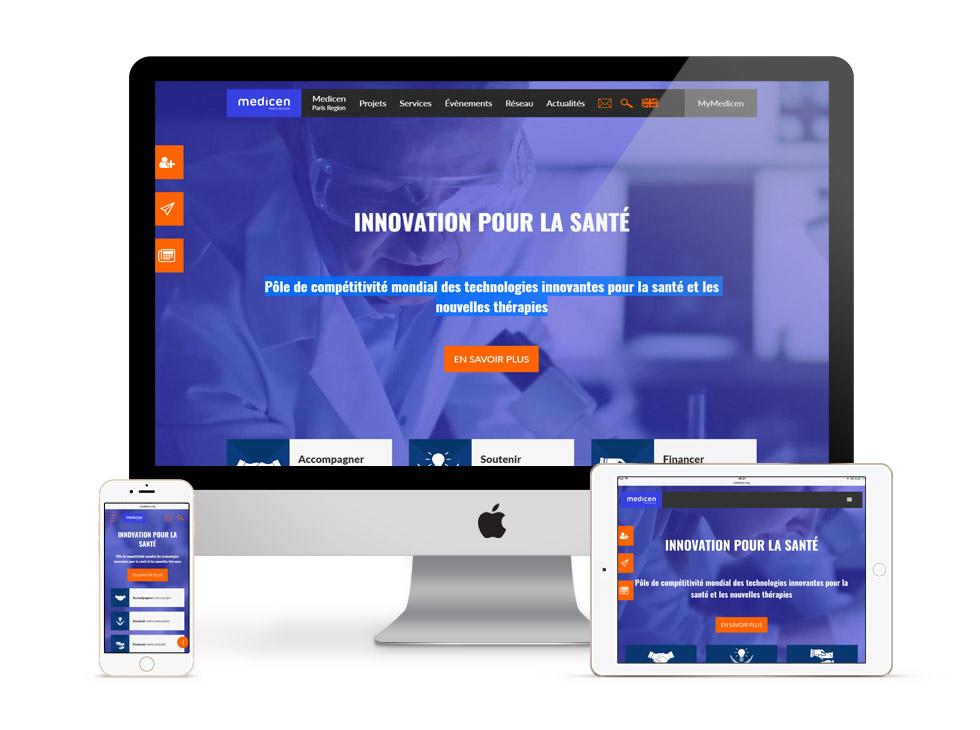 medicen.org, écrans de la page d'accueil du site internet